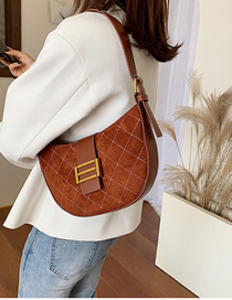 Fashion Brown Frosted Lingge Shoulder Crossbody Bag