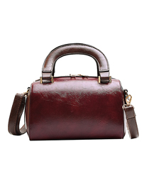 Fashion Red Wine Oil Skinny Shoulder Shoulder Bag