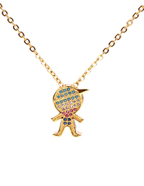 Fashion Gold Diamond Character Necklace