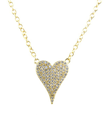 Fashion Gold Zirconium Heart-shaped Necklace