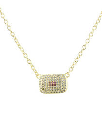 Fashion Gold Zirconium Square Necklace