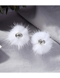 Fashion Hairball S925 Sterling Silver Hair Ball Stud Earrings