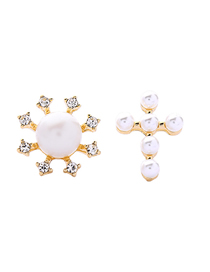 Fashion Asymmetric Pearl Earrings S925 Sterling Silver And Diamond Pearl Female Asymmetric Earrings