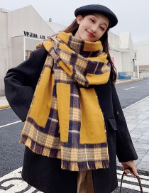 Fashion Yellow Plaid Shawl Scarf