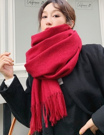 Fashion Red Imitation Cashmere Scarf Shawl Dual Purpose