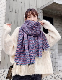 Fashion Blue Purple Woven Plaid Shawl Scarf Dual Purpose