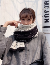 Fashion Black And White Plaid Knit Wool Shawl Scarf Dual Purpose