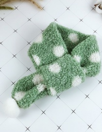 Fashion Green Cross Plush Polka Dot Hair Ball Children's Scarf