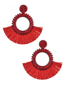 Fashion Red Felt Cloth With Diamond Round Tassel Earrings