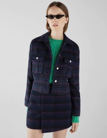 Fashion Navy Plaid Coat
