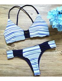 Fashion White And Blue Strip Printed Straps Split Swimsuit