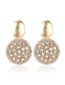 Fashion White Micro-drilled Round Earrings
