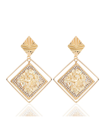 Fashion Creamy-white Set Of Gravel Geometric Earrings