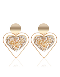 Fashion Creamy-white Colorful Gravel Love Earrings