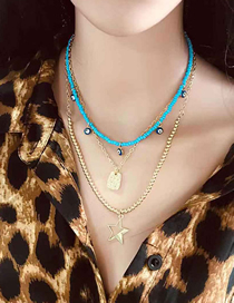 Fashion Light Blue Multi-layer Rice Bead Chain Five-pointed Star Necklace