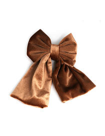 Fashion Brown Velvet Two-layer Bow Spring Clip