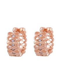 Fashion Rose Gold Zircon Geometric Earrings