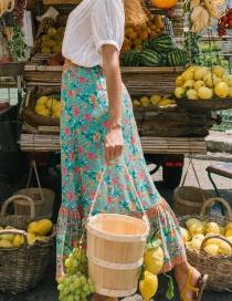Fashion Green Rose Printed Elastic Waist Skirt