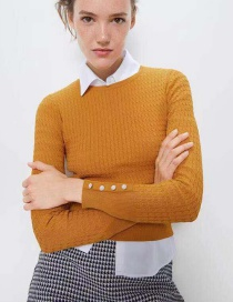 Fashion Ginger Yellow Buttoned Sleeve Texture Sweater