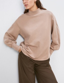 Fashion Khaki Stitching Sweatshirt