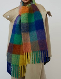 Fashion Royal Blue Rainbow Plaid Circle Loop Tassel Scarf Shawl