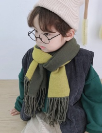 Fashion Armygreen Double-faced Cashmere Fringed Scarf Shawl (parental)