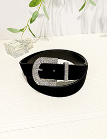 Fashion Black Alloy Diamond-studded Geometric Belt