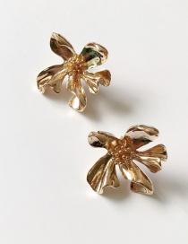 Fashion Gold (925 Silver Needle) 925 Silver Pin Metal Flower Earrings
