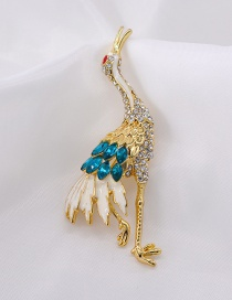 Fashion Gold Crane Crane Crystal Brooch