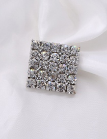 Fashion Silver Square Rhinestone Brooch