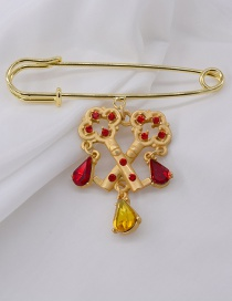 Fashion Gold Geometric Lock Key Pin Chain Brooch