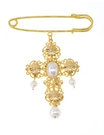 Fashion Gold Metal Cross Pearl Brooch