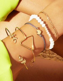 Fashion Gold Geometric Love Leaf Beizhu Bracelet 5 Piece Set