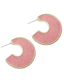 Fashion Pink Open Letter C-type Earrings