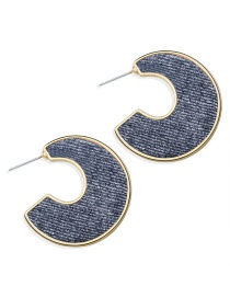 Fashion Blue Open Letter C-type Earrings