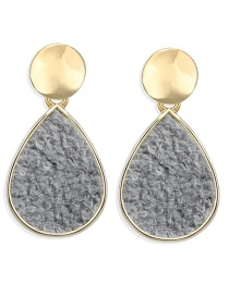 Fashion Light Gray Drop-shaped Inlaid Plush Sequin Earrings