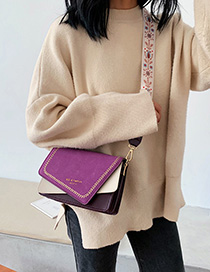 Fashion Purple Wide Shoulder Strap Matte Contrast Shoulder Bag
