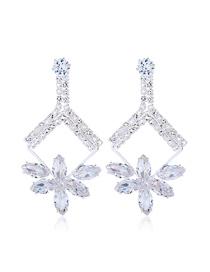 Fashion White Crystal Diamond Gemstone Flower Earrings