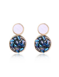 Fashion Blue Drupe-like Stone-like Natural Stone Round Earrings