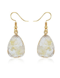 Fashion Yellow Geometric Gravel Shell Earrings