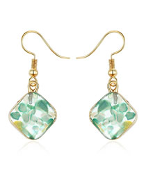 Fashion Green Diamond-shaped Gravel Shell Earrings