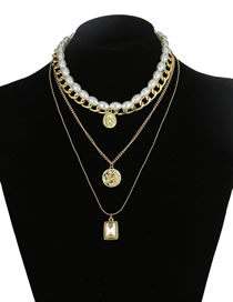 Fashion Gold Pearl Geometric Crystal Diamond Necklace