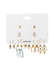 Fashion Gold Geometric Diamond-studded Irregular Natural Stone Stud Earrings