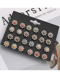 Fashion Color Christmas Flower Stud Earrings Set