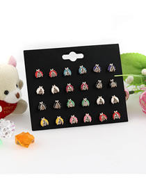 Fashion Color 12 Pairs Of Diamond-studded Beetle Drop Earrings