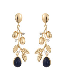 Fashion Gold Flower Drops Alloy Diamond Earrings