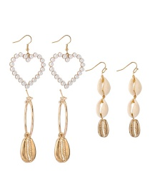 Fashion Gold Alloy Pearl Love Shell Earrings 3 Piece Set