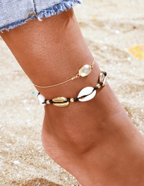 Fashion Gold Crystal Shell Multi-layered Anklet