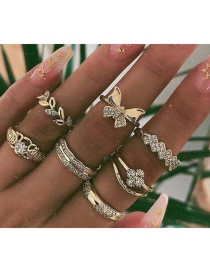 Fashion Gold Diamond Leaf Butterfly Leaf Flower Ring Set Of 8