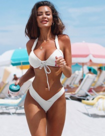 Fashion White Chest Lacing Swimsuit